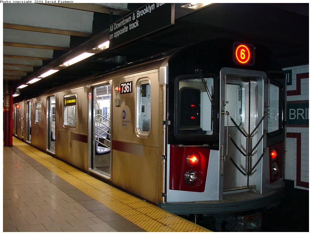 (122k, 1044x788)<br><b>Country:</b> United States<br><b>City:</b> New York<br><b>System:</b> New York City Transit<br><b>Line:</b> IRT East Side Line<br><b>Location:</b> Brooklyn Bridge/City Hall <br><b>Route:</b> 6<br><b>Car:</b> R-142A (Primary Order, Kawasaki, 1999-2002)  7361 <br><b>Photo by:</b> David Pirmann<br><b>Date:</b> 7/4/2001<br><b>Viewed (this week/total):</b> 0 / 6131