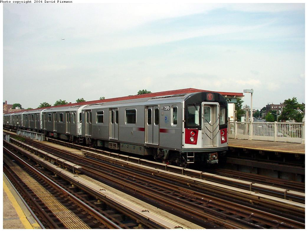 (126k, 1044x788)<br><b>Country:</b> United States<br><b>City:</b> New York<br><b>System:</b> New York City Transit<br><b>Line:</b> IRT Pelham Line<br><b>Location:</b> Middletown Road <br><b>Route:</b> 6<br><b>Car:</b> R-142A (Primary Order, Kawasaki, 1999-2002)  7370 <br><b>Photo by:</b> David Pirmann<br><b>Date:</b> 7/4/2001<br><b>Viewed (this week/total):</b> 0 / 3893