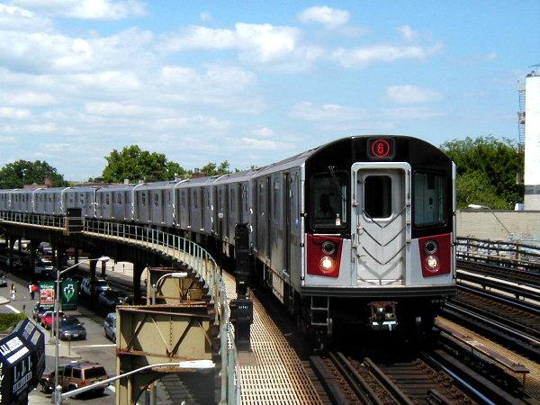 (86k, 600x450)<br><b>Country:</b> United States<br><b>City:</b> New York<br><b>System:</b> New York City Transit<br><b>Line:</b> IRT Pelham Line<br><b>Location:</b> Buhre Avenue <br><b>Route:</b> 6<br><b>Car:</b> R-142A (Primary Order, Kawasaki, 1999-2002)  7390 <br><b>Photo by:</b> Trevor Logan<br><b>Date:</b> 7/2001<br><b>Viewed (this week/total):</b> 0 / 15276