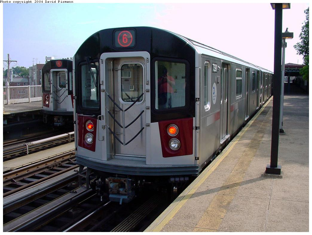(129k, 1044x788)<br><b>Country:</b> United States<br><b>City:</b> New York<br><b>System:</b> New York City Transit<br><b>Line:</b> IRT Pelham Line<br><b>Location:</b> Middletown Road <br><b>Route:</b> 6<br><b>Car:</b> R-142A (Primary Order, Kawasaki, 1999-2002)  7391 <br><b>Photo by:</b> David Pirmann<br><b>Date:</b> 7/4/2001<br><b>Viewed (this week/total):</b> 3 / 4049
