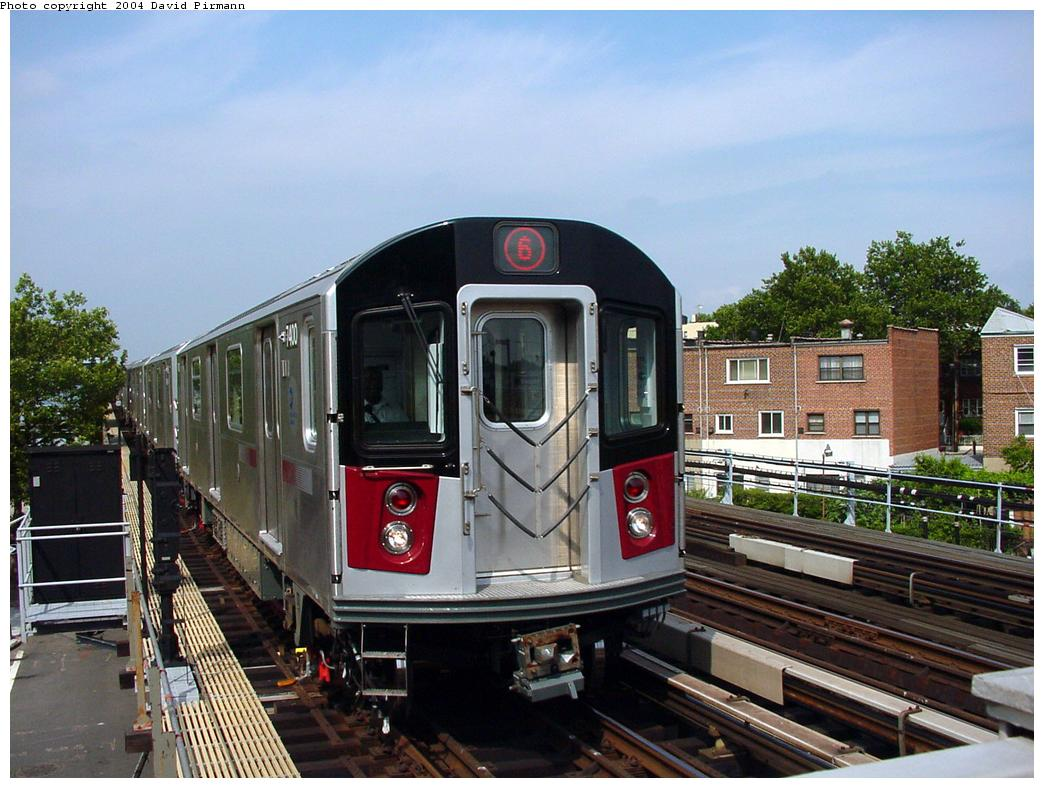 (138k, 1044x788)<br><b>Country:</b> United States<br><b>City:</b> New York<br><b>System:</b> New York City Transit<br><b>Line:</b> IRT Pelham Line<br><b>Location:</b> Middletown Road <br><b>Route:</b> 6<br><b>Car:</b> R-142A (Primary Order, Kawasaki, 1999-2002)  7400 <br><b>Photo by:</b> David Pirmann<br><b>Date:</b> 7/4/2001<br><b>Viewed (this week/total):</b> 0 / 3809