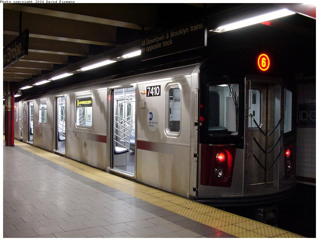 (113k, 1044x788)<br><b>Country:</b> United States<br><b>City:</b> New York<br><b>System:</b> New York City Transit<br><b>Line:</b> IRT East Side Line<br><b>Location:</b> Brooklyn Bridge/City Hall <br><b>Route:</b> 6<br><b>Car:</b> R-142A (Primary Order, Kawasaki, 1999-2002)  7410 <br><b>Photo by:</b> David Pirmann<br><b>Date:</b> 7/4/2001<br><b>Viewed (this week/total):</b> 1 / 7041
