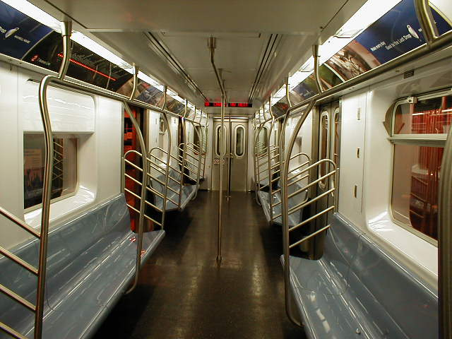 (59k, 640x480)<br><b>Country:</b> United States<br><b>City:</b> New York<br><b>System:</b> New York City Transit<br><b>Car:</b> R-142 or R-142A (Number Unknown) Interior <br><b>Photo by:</b> Nathan Comens<br><b>Date:</b> 8/7/2000<br><b>Viewed (this week/total):</b> 9 / 18487