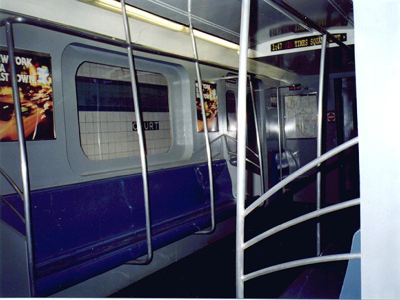 (81k, 800x600)<br><b>Country:</b> United States<br><b>City:</b> New York<br><b>System:</b> New York City Transit<br><b>Location:</b> New York Transit Museum<br><b>Car:</b> R-142 or R-142A (Number Unknown) Mockup <br><b>Photo by:</b> Constantine Steffan<br><b>Date:</b> 7/11/1998<br><b>Viewed (this week/total):</b> 1 / 10356