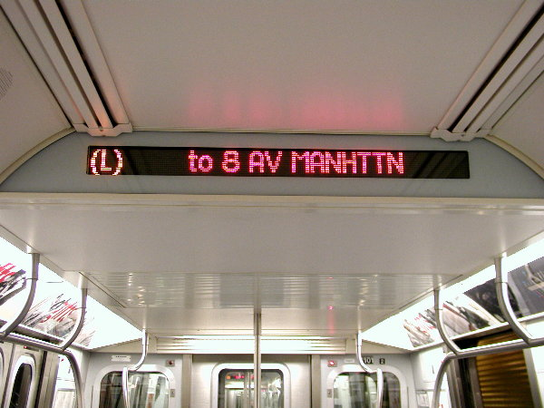 (68k, 600x450)<br><b>Country:</b> United States<br><b>City:</b> New York<br><b>System:</b> New York City Transit<br><b>Car:</b> R-143 (Kawasaki, 2001-2002) Interior <br><b>Photo by:</b> Trevor Logan<br><b>Date:</b> 12/4/2001<br><b>Notes:</b> Interior sign<br><b>Viewed (this week/total):</b> 9 / 17163