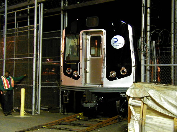 (91k, 600x450)<br><b>Country:</b> United States<br><b>City:</b> New York<br><b>System:</b> New York City Transit<br><b>Location:</b> 207th Street Yard<br><b>Car:</b> R-143 (Kawasaki, 2001-2002) 8101 <br><b>Photo by:</b> Trevor Logan<br><b>Date:</b> 4/30/2001<br><b>Viewed (this week/total):</b> 6 / 6911