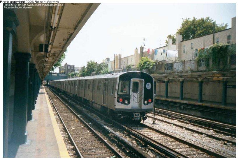 (103k, 820x553)<br><b>Country:</b> United States<br><b>City:</b> New York<br><b>System:</b> New York City Transit<br><b>Line:</b> BMT Sea Beach Line<br><b>Location:</b> 18th Avenue <br><b>Car:</b> R-143 (Kawasaki, 2001-2002) 8101 <br><b>Photo by:</b> Robert Marrero<br><b>Date:</b> 8/2001<br><b>Notes:</b> Testing on Sea Beach Line<br><b>Viewed (this week/total):</b> 4 / 6261