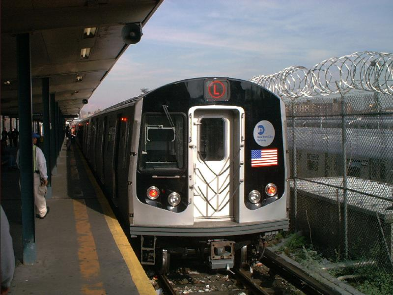(78k, 800x600)<br><b>Country:</b> United States<br><b>City:</b> New York<br><b>System:</b> New York City Transit<br><b>Line:</b> BMT Canarsie Line<br><b>Location:</b> Rockaway Parkway <br><b>Route:</b> L<br><b>Car:</b> R-143 (Kawasaki, 2001-2002) 8108 <br><b>Photo by:</b> Tony Mirabella<br><b>Date:</b> 12/7/2001<br><b>Viewed (this week/total):</b> 0 / 4644