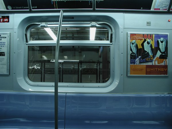 (50k, 600x450)<br><b>Country:</b> United States<br><b>City:</b> New York<br><b>System:</b> New York City Transit<br><b>Car:</b> R-143 (Kawasaki, 2001-2002) Interior <br><b>Photo by:</b> Clayton Parker<br><b>Date:</b> 12/15/2001<br><b>Viewed (this week/total):</b> 0 / 3939