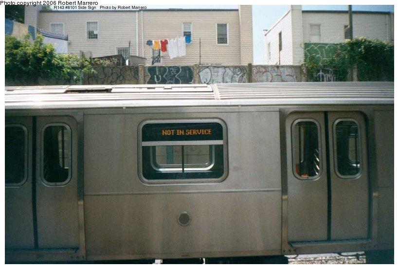 (87k, 820x553)<br><b>Country:</b> United States<br><b>City:</b> New York<br><b>System:</b> New York City Transit<br><b>Line:</b> BMT Sea Beach Line<br><b>Location:</b> 18th Avenue <br><b>Car:</b> R-143 (Kawasaki, 2001-2002) 8101 <br><b>Photo by:</b> Robert Marrero<br><b>Date:</b> 8/2001<br><b>Notes:</b> Testing on Sea Beach Line<br><b>Viewed (this week/total):</b> 0 / 6658