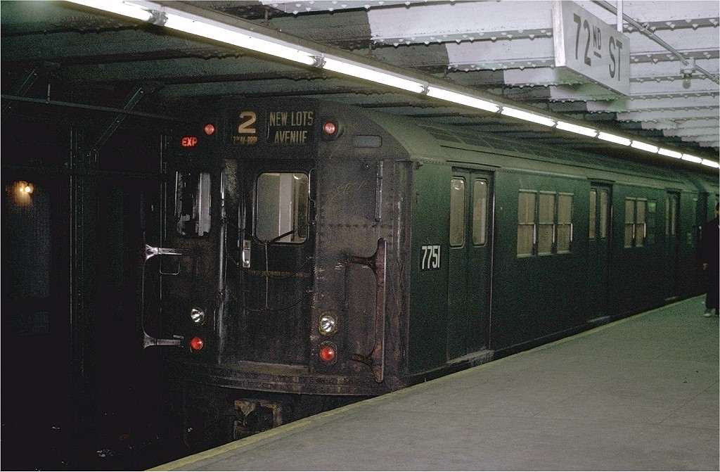 (209k, 1024x671)<br><b>Country:</b> United States<br><b>City:</b> New York<br><b>System:</b> New York City Transit<br><b>Line:</b> IRT West Side Line<br><b>Location:</b> 72nd Street <br><b>Route:</b> 2<br><b>Car:</b> R-26 (American Car & Foundry, 1959-60) 7751 <br><b>Photo by:</b> Joe Testagrose<br><b>Date:</b> 1/23/1971<br><b>Viewed (this week/total):</b> 0 / 5398