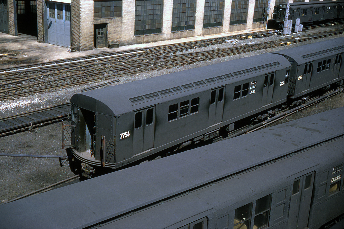 (485k, 1024x683)<br><b>Country:</b> United States<br><b>City:</b> New York<br><b>System:</b> New York City Transit<br><b>Location:</b> Concourse Yard<br><b>Car:</b> R-26 (American Car & Foundry, 1959-60) 7754 <br><b>Collection of:</b> David Pirmann<br><b>Date:</b> 4/5/1964<br><b>Viewed (this week/total):</b> 0 / 7488