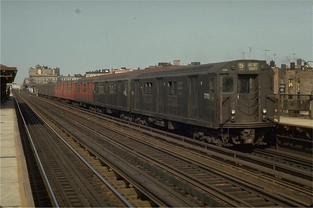 (194k, 1024x681)<br><b>Country:</b> United States<br><b>City:</b> New York<br><b>System:</b> New York City Transit<br><b>Line:</b> IRT White Plains Road Line<br><b>Location:</b> Intervale Avenue <br><b>Route:</b> 5<br><b>Car:</b> R-26 (American Car & Foundry, 1959-60) 7770 <br><b>Photo by:</b> Joe Testagrose<br><b>Date:</b> 5/2/1970<br><b>Viewed (this week/total):</b> 0 / 4489