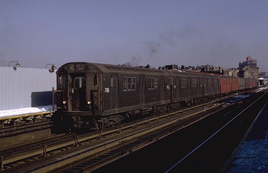 (164k, 1024x662)<br><b>Country:</b> United States<br><b>City:</b> New York<br><b>System:</b> New York City Transit<br><b>Line:</b> IRT White Plains Road Line<br><b>Location:</b> Intervale Avenue <br><b>Route:</b> 2<br><b>Car:</b> R-26 (American Car & Foundry, 1959-60) 7796 <br><b>Photo by:</b> Joe Testagrose<br><b>Date:</b> 1/2/1971<br><b>Viewed (this week/total):</b> 0 / 3998