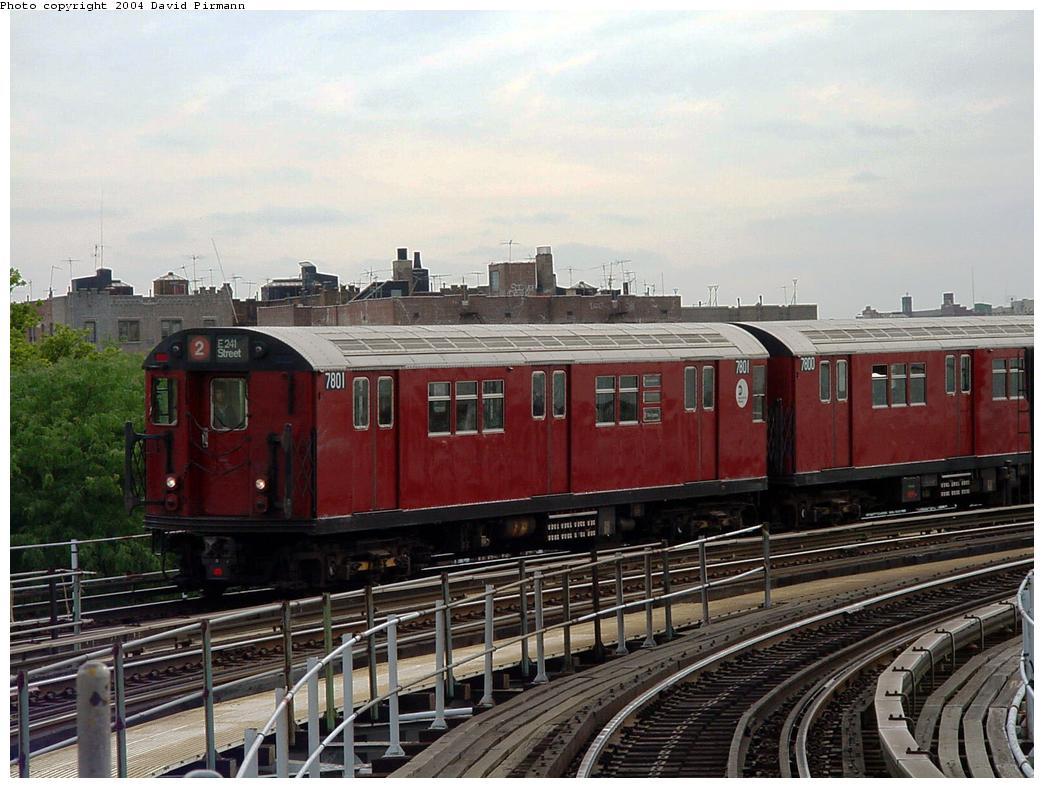 (133k, 1044x788)<br><b>Country:</b> United States<br><b>City:</b> New York<br><b>System:</b> New York City Transit<br><b>Line:</b> IRT White Plains Road Line<br><b>Location:</b> West Farms Sq./East Tremont Ave./177th St. <br><b>Route:</b> 2<br><b>Car:</b> R-26 (American Car & Foundry, 1959-60) 7801 <br><b>Photo by:</b> David Pirmann<br><b>Date:</b> 7/3/2001<br><b>Viewed (this week/total):</b> 1 / 3922
