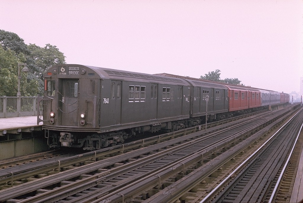 (209k, 1024x688)<br><b>Country:</b> United States<br><b>City:</b> New York<br><b>System:</b> New York City Transit<br><b>Line:</b> IRT Pelham Line<br><b>Location:</b> Westchester Square <br><b>Route:</b> 6<br><b>Car:</b> R-26 (American Car & Foundry, 1959-60) 7840 <br><b>Photo by:</b> Joe Testagrose<br><b>Date:</b> 8/1/1970<br><b>Viewed (this week/total):</b> 0 / 4319