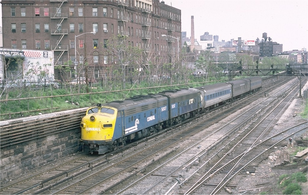 (271k, 1024x650)<br><b>Country:</b> United States<br><b>City:</b> New York<br><b>System:</b> Metro-North Railroad (or Amtrak or Predecessor RR)<br><b>Line:</b> Metro North-Harlem Line<br><b>Location:</b> Melrose <br><b>Car:</b> MNRR/NH FL9 5007 <br><b>Photo by:</b> Steve Zabel<br><b>Collection of:</b> Joe Testagrose<br><b>Date:</b> 5/5/1981<br><b>Viewed (this week/total):</b> 3 / 3819