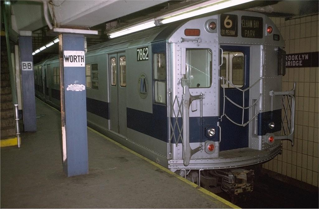 (186k, 1024x671)<br><b>Country:</b> United States<br><b>City:</b> New York<br><b>System:</b> New York City Transit<br><b>Line:</b> IRT East Side Line<br><b>Location:</b> Brooklyn Bridge/City Hall <br><b>Route:</b> 6<br><b>Car:</b> R-28 (American Car & Foundry, 1960-61) 7862 <br><b>Photo by:</b> Doug Grotjahn<br><b>Collection of:</b> Joe Testagrose<br><b>Date:</b> 12/25/1972<br><b>Viewed (this week/total):</b> 4 / 5652