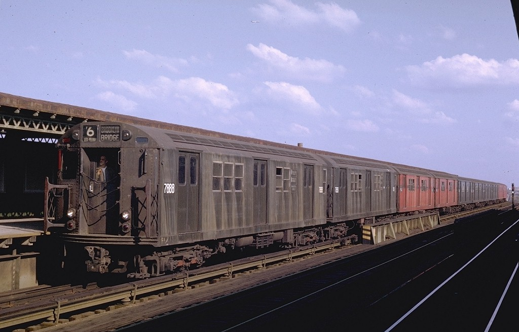 (156k, 1024x655)<br><b>Country:</b> United States<br><b>City:</b> New York<br><b>System:</b> New York City Transit<br><b>Line:</b> IRT Pelham Line<br><b>Location:</b> Castle Hill Avenue <br><b>Route:</b> 6<br><b>Car:</b> R-28 (American Car & Foundry, 1960-61) 7888 <br><b>Photo by:</b> Joe Testagrose<br><b>Date:</b> 11/8/1969<br><b>Viewed (this week/total):</b> 1 / 4485