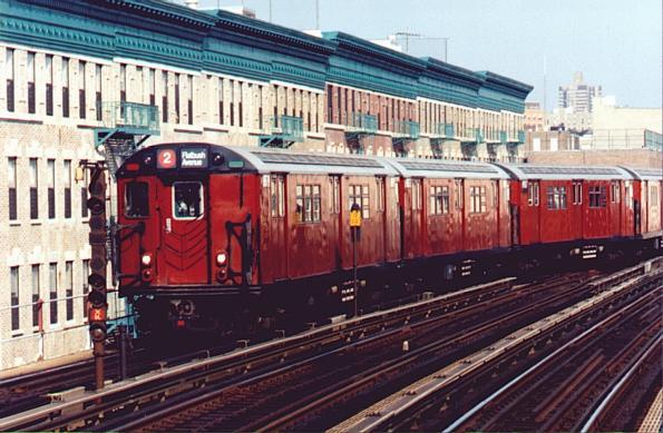 (54k, 595x389)<br><b>Country:</b> United States<br><b>City:</b> New York<br><b>System:</b> New York City Transit<br><b>Line:</b> IRT White Plains Road Line<br><b>Location:</b> Freeman Street <br><b>Route:</b> IRT 2<br><b>Car:</b> R-29 (St. Louis, 1962)  <br><b>Photo by:</b> Trevor Logan<br><b>Viewed (this week/total):</b> 3 / 5087
