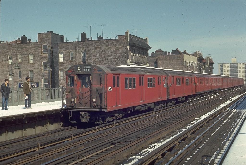 (226k, 1024x688)<br><b>Country:</b> United States<br><b>City:</b> New York<br><b>System:</b> New York City Transit<br><b>Line:</b> IRT Pelham Line<br><b>Location:</b> Elder Avenue <br><b>Route:</b> 6<br><b>Car:</b> R-29 (St. Louis, 1962) 8574 <br><b>Photo by:</b> Joe Testagrose<br><b>Date:</b> 3/30/1970<br><b>Viewed (this week/total):</b> 1 / 4678