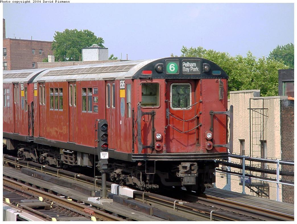 (162k, 1044x788)<br><b>Country:</b> United States<br><b>City:</b> New York<br><b>System:</b> New York City Transit<br><b>Line:</b> IRT Pelham Line<br><b>Location:</b> Middletown Road <br><b>Route:</b> 6<br><b>Car:</b> R-29 (St. Louis, 1962) 8585 <br><b>Photo by:</b> David Pirmann<br><b>Date:</b> 7/4/2001<br><b>Viewed (this week/total):</b> 1 / 5943