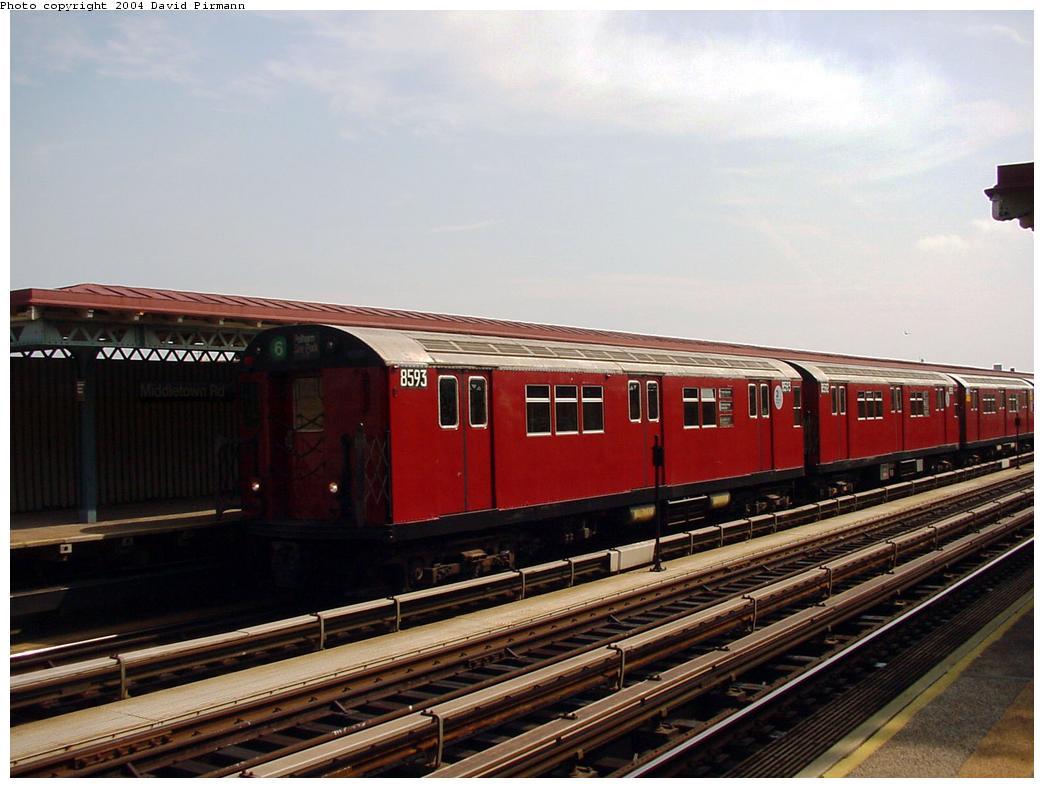 (112k, 1044x788)<br><b>Country:</b> United States<br><b>City:</b> New York<br><b>System:</b> New York City Transit<br><b>Line:</b> IRT Pelham Line<br><b>Location:</b> Middletown Road <br><b>Route:</b> 6<br><b>Car:</b> R-29 (St. Louis, 1962) 8593 <br><b>Photo by:</b> David Pirmann<br><b>Date:</b> 7/4/2001<br><b>Viewed (this week/total):</b> 4 / 4575