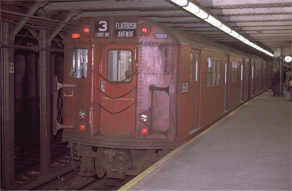 (171k, 1024x668)<br><b>Country:</b> United States<br><b>City:</b> New York<br><b>System:</b> New York City Transit<br><b>Line:</b> IRT West Side Line<br><b>Location:</b> 72nd Street <br><b>Route:</b> 3<br><b>Car:</b> R-29 (St. Louis, 1962) 8608 <br><b>Photo by:</b> Joe Testagrose<br><b>Date:</b> 4/22/1970<br><b>Viewed (this week/total):</b> 2 / 4490
