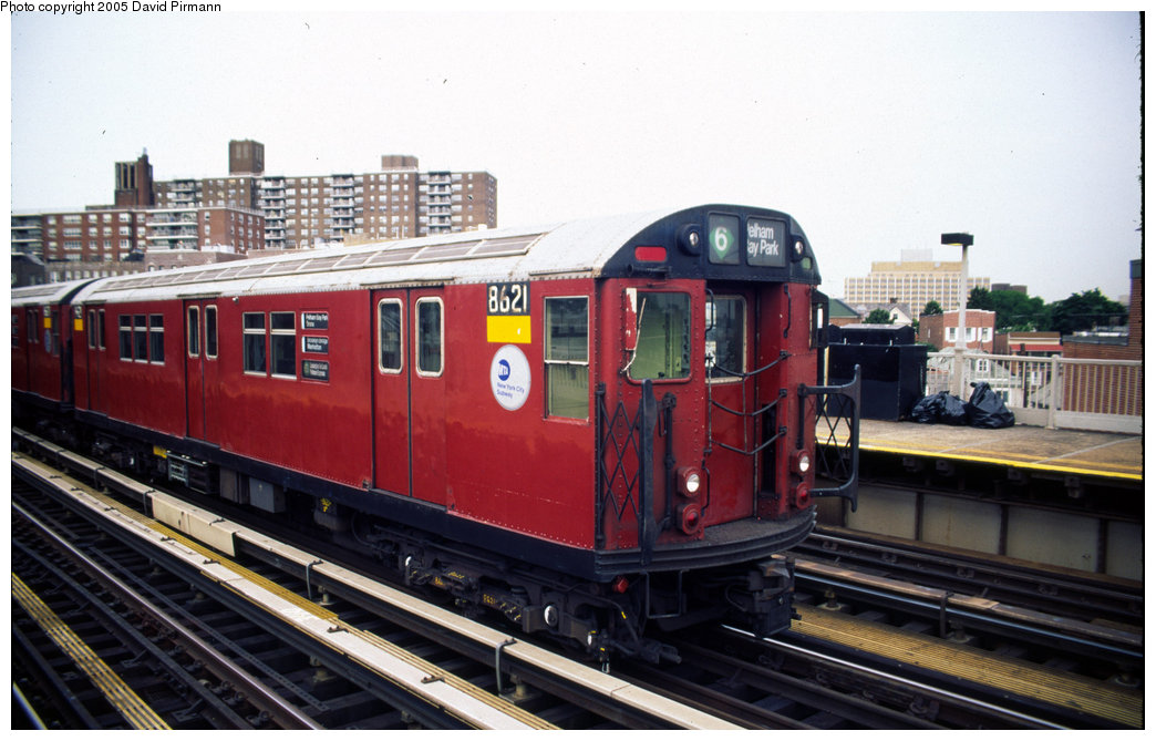 (183k, 1044x669)<br><b>Country:</b> United States<br><b>City:</b> New York<br><b>System:</b> New York City Transit<br><b>Line:</b> IRT Pelham Line<br><b>Location:</b> Buhre Avenue <br><b>Route:</b> 6<br><b>Car:</b> R-29 (St. Louis, 1962) 8621 <br><b>Photo by:</b> David Pirmann<br><b>Date:</b> 7/21/1999<br><b>Viewed (this week/total):</b> 6 / 4276