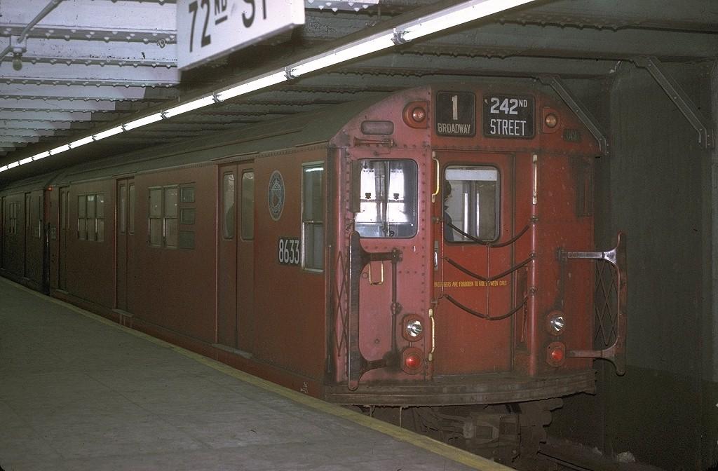 (191k, 1024x672)<br><b>Country:</b> United States<br><b>City:</b> New York<br><b>System:</b> New York City Transit<br><b>Line:</b> IRT West Side Line<br><b>Location:</b> 72nd Street <br><b>Route:</b> 1<br><b>Car:</b> R-29 (St. Louis, 1962) 8633 <br><b>Photo by:</b> Joe Testagrose<br><b>Date:</b> 1/2/1971<br><b>Viewed (this week/total):</b> 2 / 3726