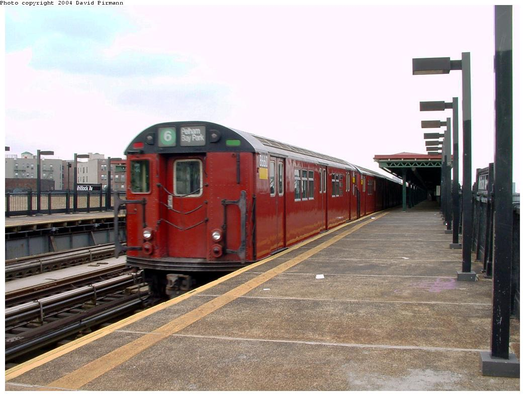 (121k, 1044x788)<br><b>Country:</b> United States<br><b>City:</b> New York<br><b>System:</b> New York City Transit<br><b>Line:</b> IRT Pelham Line<br><b>Location:</b> Whitlock Avenue <br><b>Route:</b> 6<br><b>Car:</b> R-29 (St. Louis, 1962) 8660 <br><b>Photo by:</b> David Pirmann<br><b>Date:</b> 7/4/2001<br><b>Viewed (this week/total):</b> 0 / 6810