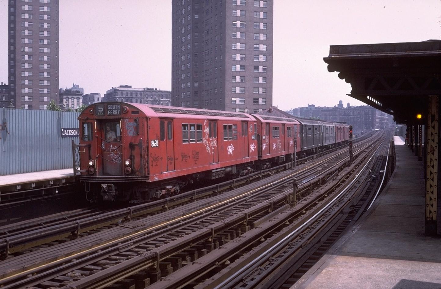 (333k, 1444x946)<br><b>Country:</b> United States<br><b>City:</b> New York<br><b>System:</b> New York City Transit<br><b>Line:</b> IRT White Plains Road Line<br><b>Location:</b> Jackson Avenue <br><b>Route:</b> 5<br><b>Car:</b> R-29 (St. Louis, 1962) 8690 <br><b>Photo by:</b> Steve Zabel<br><b>Collection of:</b> Joe Testagrose<br><b>Date:</b> 7/9/1972<br><b>Viewed (this week/total):</b> 0 / 4424
