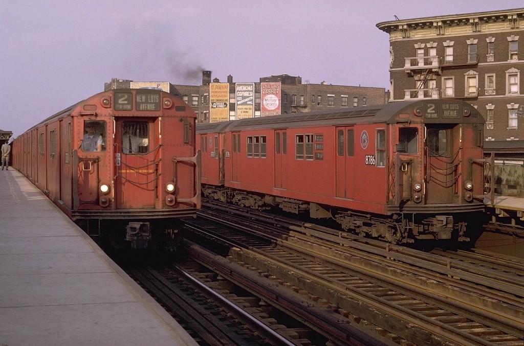 (195k, 1024x677)<br><b>Country:</b> United States<br><b>City:</b> New York<br><b>System:</b> New York City Transit<br><b>Line:</b> IRT White Plains Road Line<br><b>Location:</b> Prospect Avenue <br><b>Route:</b> 2<br><b>Car:</b> R-29 (St. Louis, 1962) 8708 <br><b>Photo by:</b> Joe Testagrose<br><b>Date:</b> 5/9/1970<br><b>Notes:</b> With R29 8786<br><b>Viewed (this week/total):</b> 1 / 4096