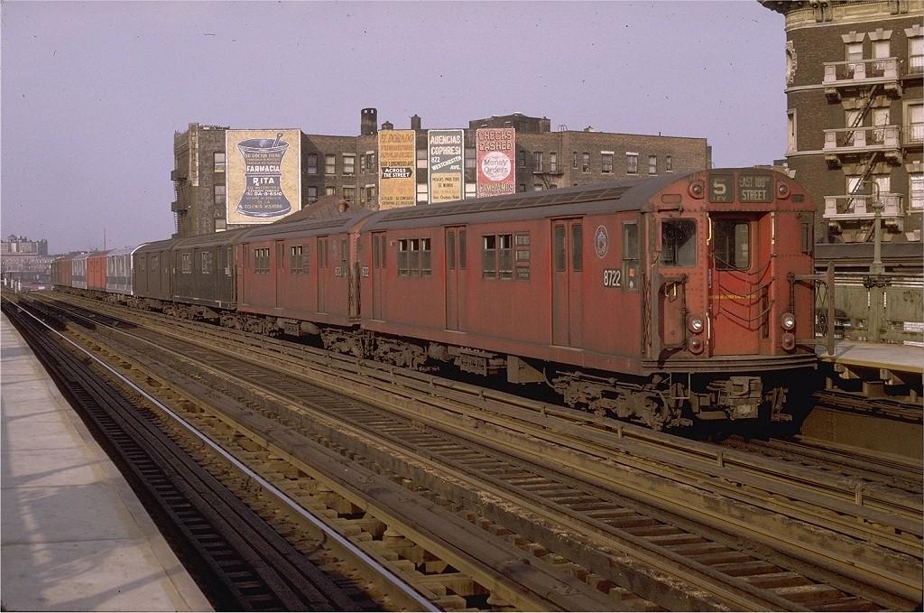 (235k, 1024x679)<br><b>Country:</b> United States<br><b>City:</b> New York<br><b>System:</b> New York City Transit<br><b>Line:</b> IRT White Plains Road Line<br><b>Location:</b> Prospect Avenue <br><b>Route:</b> 5<br><b>Car:</b> R-29 (St. Louis, 1962) 8722 <br><b>Photo by:</b> Joe Testagrose<br><b>Date:</b> 5/9/1970<br><b>Viewed (this week/total):</b> 6 / 3792