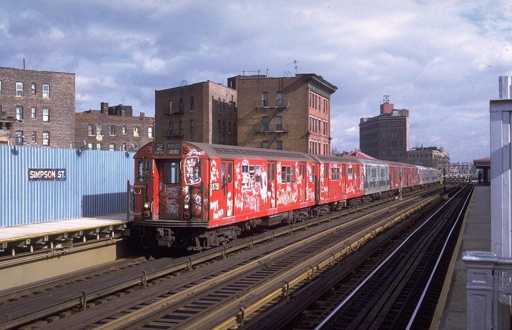 (224k, 1024x659)<br><b>Country:</b> United States<br><b>City:</b> New York<br><b>System:</b> New York City Transit<br><b>Line:</b> IRT White Plains Road Line<br><b>Location:</b> Simpson Street <br><b>Route:</b> 2<br><b>Car:</b> R-29 (St. Louis, 1962) 8730 <br><b>Photo by:</b> Steve Zabel<br><b>Collection of:</b> Joe Testagrose<br><b>Date:</b> 2/3/1973<br><b>Viewed (this week/total):</b> 4 / 6292