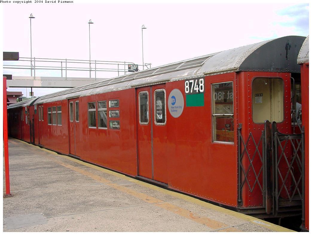 (117k, 1044x788)<br><b>Country:</b> United States<br><b>City:</b> New York<br><b>System:</b> New York City Transit<br><b>Line:</b> IRT White Plains Road Line<br><b>Location:</b> East 180th Street <br><b>Route:</b> 5<br><b>Car:</b> R-29 (St. Louis, 1962) 8748 <br><b>Photo by:</b> David Pirmann<br><b>Date:</b> 7/3/2001<br><b>Viewed (this week/total):</b> 2 / 5094