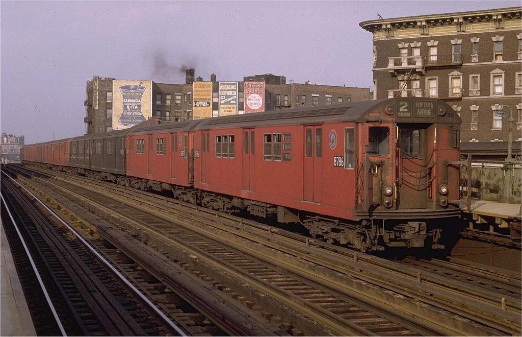 (206k, 1024x660)<br><b>Country:</b> United States<br><b>City:</b> New York<br><b>System:</b> New York City Transit<br><b>Line:</b> IRT White Plains Road Line<br><b>Location:</b> Prospect Avenue <br><b>Route:</b> 2<br><b>Car:</b> R-29 (St. Louis, 1962) 8786 <br><b>Photo by:</b> Joe Testagrose<br><b>Date:</b> 5/9/1970<br><b>Viewed (this week/total):</b> 2 / 3736