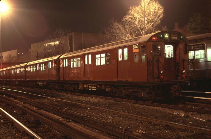(64k, 800x527)<br><b>Country:</b> United States<br><b>City:</b> New York<br><b>System:</b> New York City Transit<br><b>Location:</b> Concourse Yard<br><b>Car:</b> R-33 Main Line (St. Louis, 1962-63) 8840 <br><b>Photo by:</b> Glenn L. Rowe<br><b>Date:</b> 3/15/2002<br><b>Viewed (this week/total):</b> 0 / 3298
