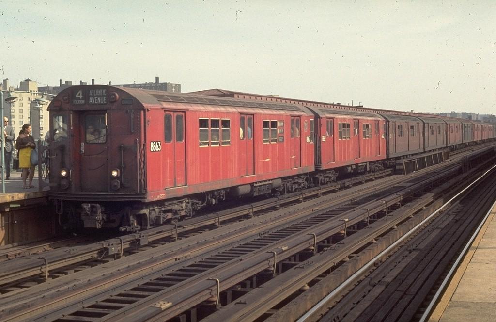 (188k, 1024x664)<br><b>Country:</b> United States<br><b>City:</b> New York<br><b>System:</b> New York City Transit<br><b>Line:</b> IRT Woodlawn Line<br><b>Location:</b> 161st Street/River Avenue (Yankee Stadium) <br><b>Route:</b> 4<br><b>Car:</b> R-33 Main Line (St. Louis, 1962-63) 8863 <br><b>Photo by:</b> Joe Testagrose<br><b>Date:</b> 8/11/1969<br><b>Viewed (this week/total):</b> 1 / 4425