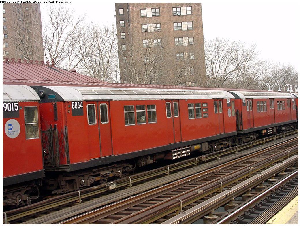 (180k, 1044x788)<br><b>Country:</b> United States<br><b>City:</b> New York<br><b>System:</b> New York City Transit<br><b>Line:</b> IRT White Plains Road Line<br><b>Location:</b> Jackson Avenue <br><b>Route:</b> 2<br><b>Car:</b> R-33 Main Line (St. Louis, 1962-63) 8864 <br><b>Photo by:</b> David Pirmann<br><b>Date:</b> 1/14/2001<br><b>Viewed (this week/total):</b> 2 / 4701