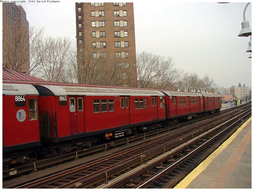 (148k, 1044x788)<br><b>Country:</b> United States<br><b>City:</b> New York<br><b>System:</b> New York City Transit<br><b>Line:</b> IRT White Plains Road Line<br><b>Location:</b> Jackson Avenue <br><b>Route:</b> 2<br><b>Car:</b> R-33 Main Line (St. Louis, 1962-63) 8865 <br><b>Photo by:</b> David Pirmann<br><b>Date:</b> 1/14/2001<br><b>Viewed (this week/total):</b> 1 / 4770