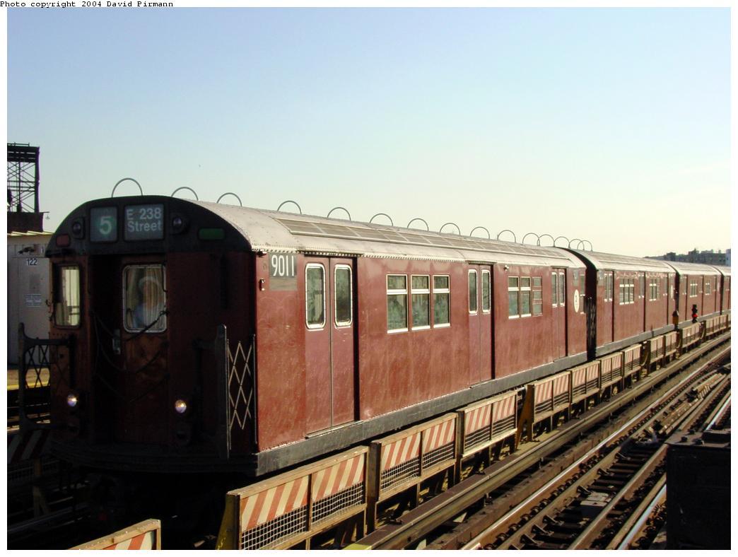 (107k, 1044x788)<br><b>Country:</b> United States<br><b>City:</b> New York<br><b>System:</b> New York City Transit<br><b>Line:</b> IRT White Plains Road Line<br><b>Location:</b> West Farms Sq./East Tremont Ave./177th St. <br><b>Route:</b> 5<br><b>Car:</b> R-33 Main Line (St. Louis, 1962-63) 9011 <br><b>Photo by:</b> David Pirmann<br><b>Date:</b> 8/21/2002<br><b>Viewed (this week/total):</b> 0 / 3981