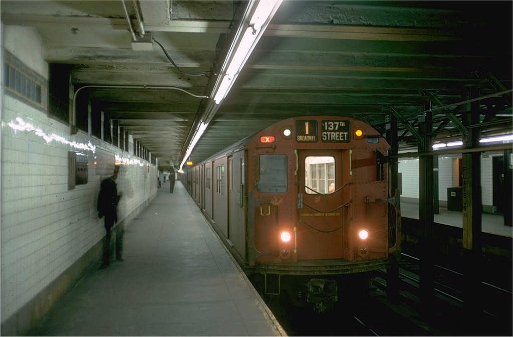 (149k, 1024x672)<br><b>Country:</b> United States<br><b>City:</b> New York<br><b>System:</b> New York City Transit<br><b>Line:</b> IRT Brooklyn Line<br><b>Location:</b> Flatbush Avenue <br><b>Route:</b> 1<br><b>Car:</b> R-33 Main Line (St. Louis, 1962-63) 9018 <br><b>Photo by:</b> Doug Grotjahn<br><b>Collection of:</b> Joe Testagrose<br><b>Date:</b> 12/1/1968<br><b>Viewed (this week/total):</b> 8 / 7544