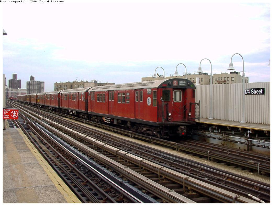 (132k, 1044x788)<br><b>Country:</b> United States<br><b>City:</b> New York<br><b>System:</b> New York City Transit<br><b>Line:</b> IRT White Plains Road Line<br><b>Location:</b> 174th Street <br><b>Route:</b> 2<br><b>Car:</b> R-33 Main Line (St. Louis, 1962-63) 9033 <br><b>Photo by:</b> David Pirmann<br><b>Date:</b> 7/3/2001<br><b>Viewed (this week/total):</b> 3 / 4120