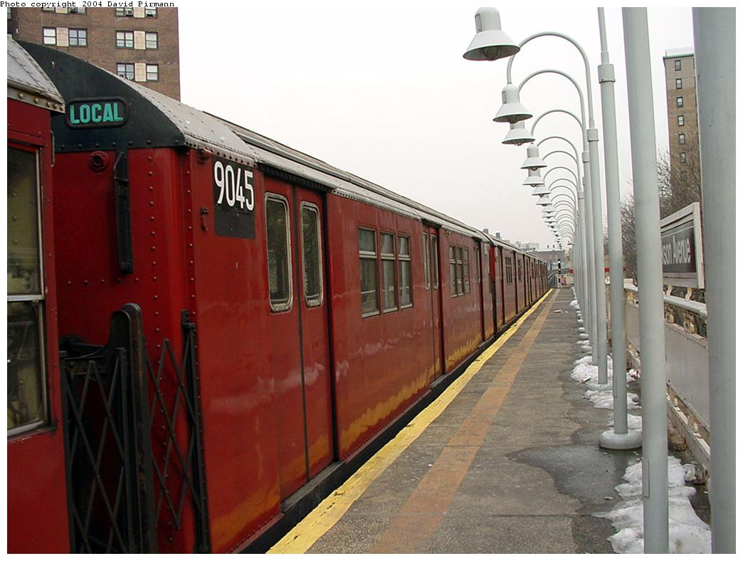(116k, 1044x788)<br><b>Country:</b> United States<br><b>City:</b> New York<br><b>System:</b> New York City Transit<br><b>Line:</b> IRT White Plains Road Line<br><b>Location:</b> Jackson Avenue <br><b>Route:</b> 2<br><b>Car:</b> R-33 Main Line (St. Louis, 1962-63) 9045 <br><b>Photo by:</b> David Pirmann<br><b>Date:</b> 1/14/2001<br><b>Viewed (this week/total):</b> 3 / 4557