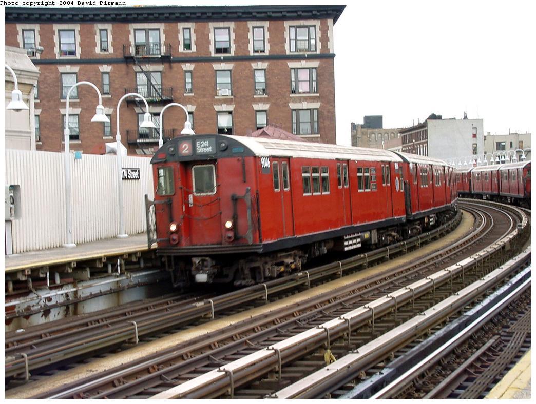 (149k, 1044x788)<br><b>Country:</b> United States<br><b>City:</b> New York<br><b>System:</b> New York City Transit<br><b>Line:</b> IRT White Plains Road Line<br><b>Location:</b> 174th Street <br><b>Route:</b> 2<br><b>Car:</b> R-33 Main Line (St. Louis, 1962-63) 9046 <br><b>Photo by:</b> David Pirmann<br><b>Date:</b> 7/3/2001<br><b>Viewed (this week/total):</b> 9 / 5462