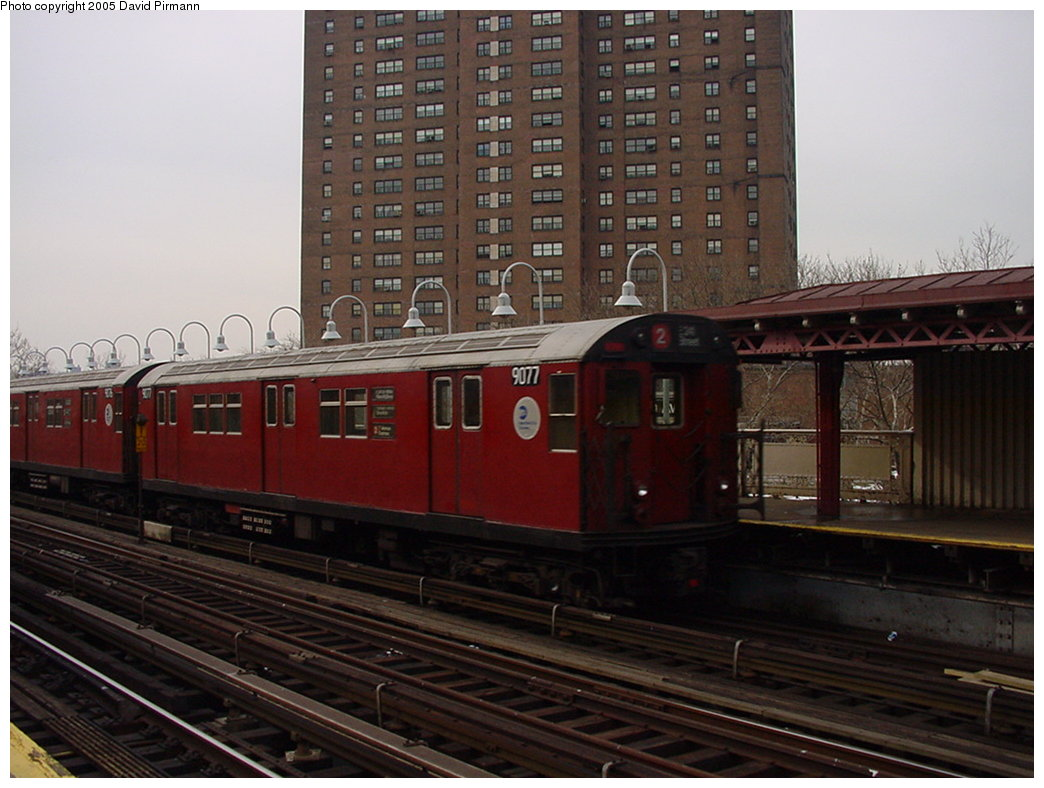 (160k, 1044x788)<br><b>Country:</b> United States<br><b>City:</b> New York<br><b>System:</b> New York City Transit<br><b>Line:</b> IRT White Plains Road Line<br><b>Location:</b> Jackson Avenue <br><b>Route:</b> 2<br><b>Car:</b> R-33 Main Line (St. Louis, 1962-63) 9077 <br><b>Photo by:</b> David Pirmann<br><b>Date:</b> 1/14/2001<br><b>Viewed (this week/total):</b> 2 / 4431