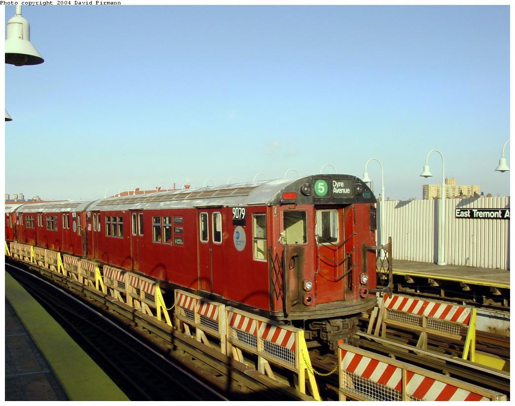 (121k, 1044x824)<br><b>Country:</b> United States<br><b>City:</b> New York<br><b>System:</b> New York City Transit<br><b>Line:</b> IRT White Plains Road Line<br><b>Location:</b> West Farms Sq./East Tremont Ave./177th St. <br><b>Route:</b> 5<br><b>Car:</b> R-33 Main Line (St. Louis, 1962-63) 9079 <br><b>Photo by:</b> David Pirmann<br><b>Date:</b> 8/21/2002<br><b>Viewed (this week/total):</b> 2 / 5115