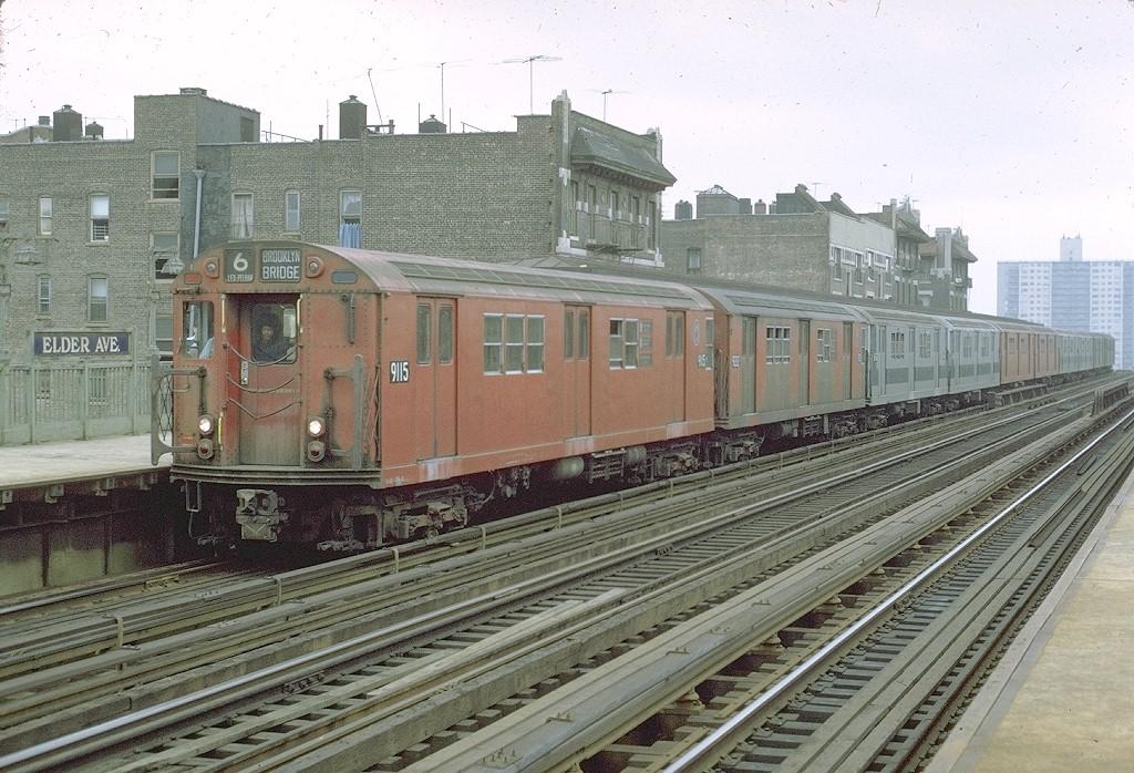 (243k, 1024x698)<br><b>Country:</b> United States<br><b>City:</b> New York<br><b>System:</b> New York City Transit<br><b>Line:</b> IRT Pelham Line<br><b>Location:</b> Elder Avenue <br><b>Route:</b> 6<br><b>Car:</b> R-33 Main Line (St. Louis, 1962-63) 9115 <br><b>Photo by:</b> Joe Testagrose<br><b>Date:</b> 9/20/1971<br><b>Viewed (this week/total):</b> 5 / 4269