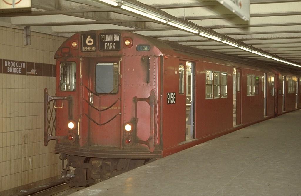 (156k, 1024x667)<br><b>Country:</b> United States<br><b>City:</b> New York<br><b>System:</b> New York City Transit<br><b>Line:</b> IRT East Side Line<br><b>Location:</b> Brooklyn Bridge/City Hall <br><b>Route:</b> 6<br><b>Car:</b> R-33 Main Line (St. Louis, 1962-63) 9158 <br><b>Photo by:</b> Joe Testagrose<br><b>Date:</b> 4/2/1970<br><b>Viewed (this week/total):</b> 0 / 5185